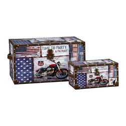 "Household Essentials - Motorcycle Design Trunk/Large And Small Set - Decorative storage trunks are so much more than just decoration they are a fast and easy way to redesign your space.  Available in a variety of sizes to create versatile storage options that meet your needs.  This set comes with 1 large trunk and 1 small trunk styled with the Stars and Stripes the Statue of Liberty and a beautiful chromed motorcycle - the best of what makes America great!  Details:Set of two: large and smallMade of sturdy composite.  Finished with shimmer decoupage.Faux leather and brass accents.Polypropylene liner you can wipe it clean with a damp cloth.Attached lid.Front closure secures lid. Color: Red white and blue Dimensions:Large - 13.2lbs.12.6""h x 23.23""w x 14.17""d32cm x 59cm x 36cm Interior11.75""h x 22""w x 13.5""d29.8cm x 55.9cm x 34.3cm  Small - 4.4lbs.7.09""h x 13.58""w x 8.07""d18cm 34.5cm x 20.5cm Interior6.25""h x 13""w x 7.25""d15.9cm x 33cm x 18.4cm"