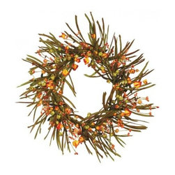 Oddity Chinese Lantern Wreath - 20 in. - Please note this product does not ship to Pennsylvania.