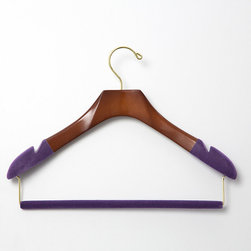 "Frontgate - Set of Three Women's Blouse/Sweater Hangers with Felted Bar - Available in 100% birch wood with high-gloss Bubinga Finish, purple flocking, and brass hardware or 100% maple wood construction with satin finish, black flocking, and chrome hardware. Available in two different widths (petite and standard) for optimal sizing. Each hanger flares to 1.15"" depth at the shoulders. Felted trouser bars eliminate the creasing caused by ordinary locking-bar mechanisms. With our Luxury Women's Blouse/Sweater Hangers, you can protect and extend the life of your blouses, sweaters, and dresses while avoiding embarrassing shoulder dimpling, caused when hangers do not extend all the way to the edge of the shoulder. Felted and notched shoulders on all hangers securely, gently grip garments to prevent stretching and keep wide-neck garments from sliding off the hangers.  .  .  .  ."