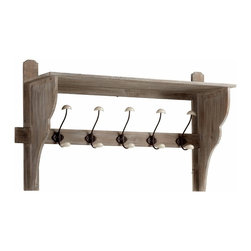 Rustic Washed Oak Five Arm Coat Hook Shelf - *Frisco Five Arm Coat Hook