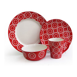 Jay Import Co - Trellis 16 Piece Dinnerware Set, Red - You'll make everyday meals more awesome with dinnerware that pops. This 16-piece set (full service for four) features a punchy pattern and vivid color combo guaranteed to brighten your table.