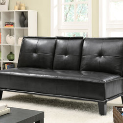Coaster - Black Contemporary Sofa Bed - This sofa bed is wrapped in a durable leather-like vinyl. The plush seating and accented button tuft contribute to the sophistication of this item. Features a flip-down tray that has convinient cup holders.