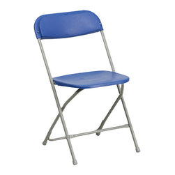 Flash Furniture - Flash Furniture Hercules Premium Blue Plastic Folding Chair - Plastic folding chairs are the choice of many event planners for their lightweight design, ease of cleaning, and versatility among events. This portable folding chair can be used for banquets, Parties, Graduations, Sporting Events, School Functions and in the Classroom. This chair will be the perfect addition in the home when in need of extra seating to accommodate guests. Constructed of lightweight textured polypropylene and a strong steel frame, these folding chairs will suit most any occasion. [BH-D0001-BL-GG]