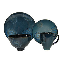 Red Vanilla - Red Vanilla 16-piece Organic Blue Dinner Set - Add a pop of color to your table setting with this bold reactive glaze dinner set. Each piece in this set features slight color variations and is patterned with a galaxy-like spiral pattern,making for a truly unique table setting.