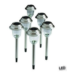Hampton Bay - Hampton Bay Outdoor Lighting. Premium Brushed Nickel Solar LED Walk Light Set (6 - Shop for Lighting & Fans at The Home Depot. This 6-piece set of Hampton Bay Solar Walk Lights is constructed of durable stainless steel with a lustrous brushed nickel finish to add long-lasting beauty to your landscape. The lights will provide solar-powered illumination to your walkways and landscapes, after easy installation using ground stakes provided. Available online in 10-pack Internet #202631132.