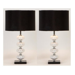 Aspire - Libby Table Lamp - Set of 2 - Set of 2. This table lamp is great for the modern or transitional style home. White glass orbs decorate the base with silver metal accents between. A round black fabric shade completes the contemporary style. Metal and Glass. Color/Finish: Black, white, silver. UL listed. Uses 60 watt max bulb. 21 in. H x 11.5 in. W x 11.5 in. D. Shade: 8 in. H x 11.5 in. W x 11.5 in. D. Weight: 7 lbs.