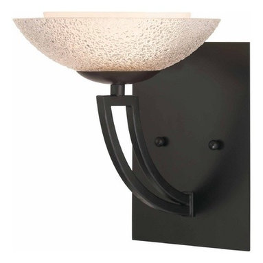 Dolan Designs Lighting - Bronze Sconce with Seeded Glass Shade - 1906-46 - Warm bronze sconce with outer seeded glass and inner white glass shades. Takes (1) 60-watt halogen G9 bulb(s). Bulb(s) included. UL listed. Dry location rated.