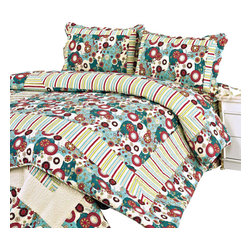 Blancho Bedding - [Dianthe]100%Cotton 3PC Floral Vermicelli-Quilted Patchwork Quilt Set Full/Queen - Set includes a quilt and two quilted shams (one in twin set). Shell and fill are 100% cotton. For convenience, all bedding components are machine washable on cold in the gentle cycle and can be dried on low heat and will last you years. Intricate vermicelli quilting provides a rich surface texture. This vermicelli-quilted quilt set will refresh your bedroom decor instantly, create a cozy and inviting atmosphere and is sure to transform the look of your bedroom or guest room.