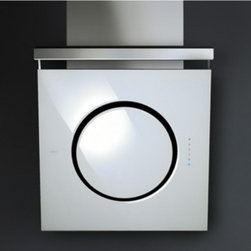 """Elica - EOM431WT Om 32"""" Glass Wall Mounted Range Hood with 450 CFM Internal Blower  Halo - The new version of the Om allows everyday reality to gather the fragments of a single original thought  fragments of color and pure form - and design the space and the architecture of your own private world The Mini Om features four 20 watt halogen l..."""