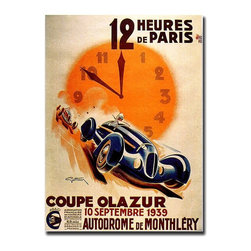 "Trademark Global - ""12 Heur de Paris"" by George Ham - Giclee Rep - All racing buffs would enjoy owning this sensational and unique French vintage style promotional poster. Promoting a 12-hour Parisian road race, you can almost hear the roar of the engines as the cars whiz by.  George Ham created beautifully artistic advertising art like this in the early 20th century, featuring the new modern style of the day.  This exceptional canvas print is large and impressive, and would be a great addition to a den or game room. 24 in. W x 32 in. H (5.25 lbs.)"