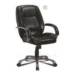 "Coaster - Leather-Like Office Chair With Comfort Cushion Back - Leather like office chair with comfort cushion back, this chair features a gas lift with swivel and tilt capabilities with casters.  Measures 27 3/4 ""x 30"" D x 39 1/2"" - 43 1/4"" H.  Some assembly required."