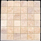 "Honey Tumbled Square Pattern Mesh-Mounted Onyx Tiles - 2"" x 2"" Honey Mesh-Mounted Square Pattern Onyx Mosaic Tile is a great way to enhance your decor with a traditional aesthetic touch. This tumbled mosaic tile is constructed from durable, impervious onyx material, comes in a smooth, unglazed finish and is suitable for installation on floors, walls and countertops in commercial and residential spaces such as bathrooms and kitchens."