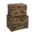 "IMAX CORPORATION - Moreton Wood Chests - Set of 2 - The Moreton wood chests are very eco-friendly pieces that are made completely from reclaimed wood which makes each piece unique and individual. Set of 2 in various sizes measuring around 24.5""L x 18.5""W x 18.5""H each. Shop home furnishings, decor, and accessories from Posh Urban Furnishings. Beautiful, stylish furniture and decor that will brighten your home instantly. Shop modern, traditional, vintage, and world designs."