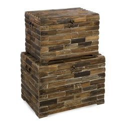 """IMAX CORPORATION - Moreton Wood Chests - Set of 2 - The Moreton wood chests are very eco-friendly pieces that are made completely from reclaimed wood which makes each piece unique and individual. Set of 2 in various sizes measuring around 24.5""""L x 18.5""""W x 18.5""""H each. Shop home furnishings, decor, and accessories from Posh Urban Furnishings. Beautiful, stylish furniture and decor that will brighten your home instantly. Shop modern, traditional, vintage, and world designs."""