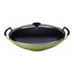 """Le Creuset - Le Creuset 4 3/4 Qt. (14 1/4"""" ) Wok with Glass Lid  - Palm - This classic Chinese design is perfectly weight-balanced with a flat base and easy-sloping sides, and features a smooth, gently curved interior cooking surface for stir-frying fresh ingredients."""