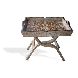 Accent Table with Tray, Bone Torched with Scrolls - Accent Table with Tray, Bone Torched with Scrolls