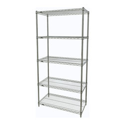 InterMetro Industries - Metro Shelving Unit - 36x18x74 - As the original wire storage shelving system and still the industry leader, Metro shelving continues to evolve and aims to meet the diversity of todays storage challenges. These professional grade units hold more weight. The five (5) shelves can be positioned, or re-positioned, at precise 1 increments along the length of the posts.  Open wire design minimizes dust accumulation and allows for free circulation of air and greater visibility of stored items. Casters (sold separately) available for mobile applications. This post-based shelving system, created in 1965, is recognized worldwide as the most popular commercial shelving system ever.  Assembly required