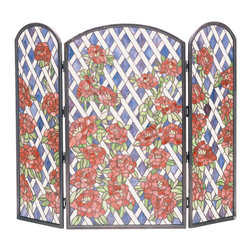 "Meyda Lighting - Meyda Lighting 35744 40""W x 34""H Rose Trellis Folding Fireplace Screen - Meyda Lighting 35744 40""W x 34""H Rose Trellis Folding Fireplace Screen"
