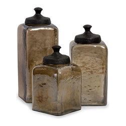 None - Set of 3 Smokey Hammered Glass Portofino Square Canisters - These square canisters stands in a Portofino style perfect for any decor. Handmade of glass and aluminum by Chinese artisans,these hammered containers will provide stunning beauty to any room.