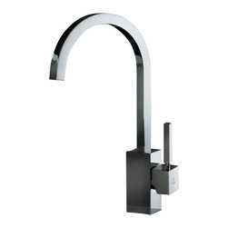 WS Bath Collections - WS Bath Collections Domino Kitchen Sink Mixer - Add the perfect finishing touch to your modern dream kitchen with this luxury chrome faucet. The geometric handle and base, combined with a squared tubular neck, make for a truly state-of-the-art design. Made in Italy with high-quality craftsmanship that'll last for years to come.
