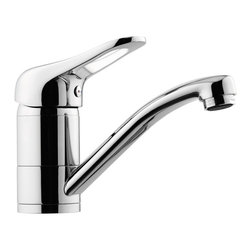 Remer - Bathroom Faucet With Single Lever and Movable Spout - A single lever, one-hole sink mixer with movable spout. It is made from high quality brass by Italian designer Remer. It comes in a polished chrome finish and is a deck-mount bathroom sink faucet. This faucet looks dazzling in any modern or contemporary style bathroom. One-hole bathroom sink faucet. Single-lever faucet. Comes with movable spout. Made from brass finished in shiny chrome. Made in Italy by Remer.