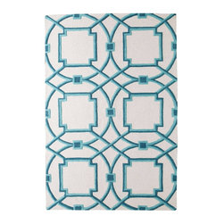 Global Views Arabesque Aqua rug - The bold oversize circles on this rug create a modern feel in fresh shades of teal and turquoise.