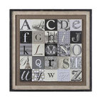 Uttermost - Designing Alphabet Framed Art - Learn your alphabet all over again and this time, in style. Hang this oil reproduction in any room in your home. The eye-catching staggered prints are raised on a wooden backboard for a three dimensional effect.