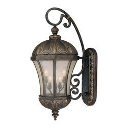 Savoy House - Ponce De Leon Wall Mount Lantern - This stately lantern hangs like a beacon outside your door, guiding you home. Bronze and gold detailing reflect an Old World splendor, while the modern shapeliness is completely of this time.