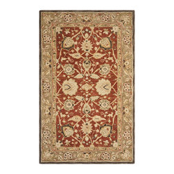 Safavieh - Safavieh Anatolia AN512G, Rust, Green, 6'x9' Rug - Anatolia Collection brings old world sophistication and quality in new tufted rugs. This collection captures the authentic look and feel of the decorative rugs made in the late 19th century in this region. Hand spun wool and an ancient pot dying technique together with a densely woven thick pile, gives Anatolia rugs their authentic finish.