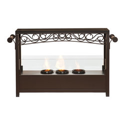 SEI - Ainslie Portable Indoor/Outdoor Fireplace - Add this beautiful portable fireplace to your home today for a quick and easy fireplace experience without committing to a full room makeover. This fireplace is ideal for any home in search of a warm, cozy fire for indoor and outdoor use. This portable gel fireplace offers the warmth and joys of a fireplace without wasting valuable space when not in use. FireGlo Gel Fuel snaps and crackles like real wood for the perfect fireplace experience; replace the gel fuel with decorative pillar candles for year round enjoyment. The patented handle design makes moving the fireplace a breeze. Convenience and portability are just two of the reasons why this fireplace is perfect for your home. The lovely, scrollwork design works well in traditional, transitional, and contemporary homes. It's great for the living room and bedroom, and even adds a warm, romantic touch to the dining room or home office. Move it to your patio to enjoy the warmth and beauty outdoors too!