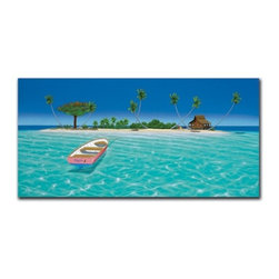 """Rosita 15x30 Print - """"Rosita"""" is a tropical canvas giclee by Dan Mackin.  This 15x30 canvas is gallery wrapped . We take the fine art canvas and stretch it over a wooden frame, adhering the canvas to the backside of the frame. The canvas actually wraps around the edges of the frame, giving your print the look of a fine piece of art, such as you might find in an art gallery. There is no need for a picture frame. Your piece of art is ready to hang or lean against a wall, or display on an easel."""