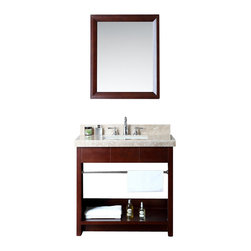 "Ariel - Seabrook 36"" Single-Sink Bathroom Vanity Set - Embodying elements of both traditional and modern styling,  this vanity from our Seabrook collection features an open bottom design with cubby storage and a chrome towel rack.   The smooth walnut finish is coated with polyurethane for water-protection and long-term durability."
