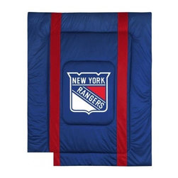 Sports Coverage - New York Rangers NHL Bedding - Sidelines Comforter - Twin - Show your team spirit with this great looking officially licensed New York Rangers comforter which comes in a new design with sidelines. This New York Rangers comforter is made from 100% Polyester Jersey Mesh - just like what the players wear. The fill is 100% Polyester batting for warmth and comfort. Featuring authentic New York Rangers team colors, each comforter has the authentic New York Rangers logo screen printed in the center. Soft but durable. Machine washable in cold water. Tumble dry in low heat. 100% Polyester Microsuede top and 100% Polyester Jersey  bottom, filled with 100% Polyester Batting. Each comforter has the team logo centered on solid background in team colors. 5.5 oz. Bonded polyester batts. Looks and feels like a real jersey!