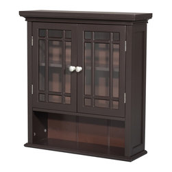None - Stripe 2-door Espresso Wall Cabinet - Put this two-door wall cabinet in your kitchen when you want a distinct look.The glass doors let you easily see the contents,and the cabinet has two shelves,one of which is adjustable. Clear doorknobs finish off the cabinet,adding to its unique look.