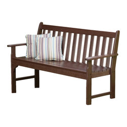 Polywood - Eco-friendly Bench in Mahogany - You don't have to live in wine country to enjoy the rich character of the Vineyard Collection. It will fill your outdoor living area with the same style and comfort it would if it were overlooking rows and rows of grapes at harvest time. Built to last a lifetime through all types of weather. Adding to its appeal is the warm, rich look of real wood without the regular maintenance that wood requires.