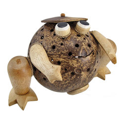 Zeckos - Natural Coconut and Wood Frog Accent Lamp/Night Light - This beautiful hand carved frog shaped accent lamp is made from wood and hemp rope, with a real, drilled out coconut shell acting as the body and lampshade. The coconut shell has hundreds of holes drilled into it to provide you with just the right accent lighting. It has a 5 1/2 foot long power cord, with a toggle on/off switch, and uses nightlight style bulbs (one is included). The lamp measures 7 inches tall, 10 inches long and 6 1/4 inches wide.