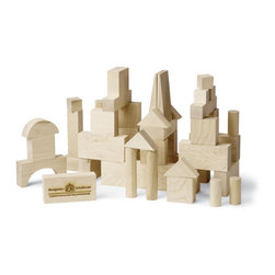 "Maple Landmark - Maple Landmark Junior Builder Block Set- 41 Pieces - Crafted from locally sourced, sustainably harvested maple hardwood, the Junior Builder Set of Montgomery Schoolhouse building blocks contains 41 pieces in 11 different shapes. The base block unit is 1"" and each dimension of all blocks is a multiple of 1"" so blocks can be stacked cleanly and uniformly."