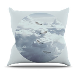 """Kess InHouse - Suzanne Carter """"Feathers"""" White Gray Throw Pillow (Outdoor, 18"""" x 18"""") - Decorate your backyard, patio or even take it on a picnic with the Kess Inhouse outdoor throw pillow! Complete your backyard by adding unique artwork, patterns, illustrations and colors! Be the envy of your neighbors and friends with this long lasting outdoor artistic and innovative pillow. These pillows are printed on both sides for added pizzazz!"""