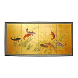 Oriental Unlimted - 36 in. Tall Gold Leaf Seven Lucky Fish Silk S - Screens may vary slightly in color. Evoke images of the Orient with this soft and beautiful, hand-painted gold leaf rendition of 7 lucky fish. Subtle and beautiful hand-painted wall art for a fraction of the cost of a comparable print. Large hand-painted ink and watercolor silk screen. Song dynasty (10th century China) brush art style. Can be displayed as a privacy screen. Can be folded partly to stand upright on a table or floor. Crafted from silk covered paper, glued over 4 side-by-side lacquered wood frames. Matted with a fine Chinese silk brocade border. Comes with lacquered brass geometric hangers for easy mounting. Note that no 2 renderings are exactly the same. 72 in. W x 36 in. H