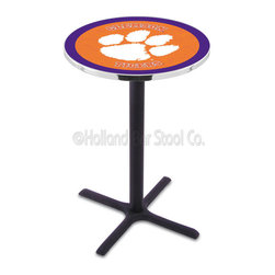 Holland Bar Stool - Holland Bar Stool L211 - Black Wrinkle Clemson Pub Table - L211 - Black Wrinkle Clemson Pub Table belongs to College Collection by Holland Bar Stool Made for the ultimate sports fan, impress your buddies with this knockout from Holland Bar Stool. This L211 Clemson table with cross base provides a commercial quality piece to for your Man Cave. You can't find a higher quality logo table on the market. The plating grade steel used to build the frame ensures it will withstand the abuse of the rowdiest of friends for years to come. The structure is powder-coated black wrinkle to ensure a rich, sleek, long lasting finish. If you're finishing your bar or game room, do it right with a table from Holland Bar Stool. Pub Table (1)