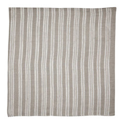 Cricket Radio - Indochine Paradise Stripe Napkin, Set of 2, Stone/White - Whether you fold them, fan them or turn them into fancy flowers, these napkins will add style and color to your table. Made of soft Italian linen, each set of two 19-inch-square napkins features a paradise floral on front and simple stripes on the back in your choice of color combinations.