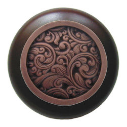 Classic Collection - Saddleworth Wood Knob in Antique Copper/Walnut