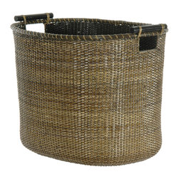 Oriental Furniture - Rattan Oval Storage Bin - Antique Finish - A natural fiber basket with quality and refinement, woven from durable, split vine rattan and finished with an antique stain.  The kiln-dried wooden pole handles provide both practical portability and contemporary flair. This earthy home decor accessory will can be used for any number of practical and decorative purposes both inside and out of the home.