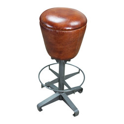 Round Fitted Leather Stool - This is the Round Fitted Leather Stool from Tres Amigos Furniture with round foot rest and sturdy base. Works great in the bar or kitchen counter. A contemporary stool with Southwest furniture design works in with your home decor and interior design inspirations. Perfect for restaurant furniture, industrial style hotel furniture and just right in your home. With a purchase of 20 or more we can make any design just for you!