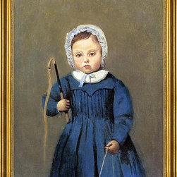 """Jean-Baptiste-Camille Corot-16""""x20"""" Framed Canvas - 16"""" x 20"""" Jean-Baptiste-Camille Corot Louis Robert as a Child framed premium canvas print reproduced to meet museum quality standards. Our museum quality canvas prints are produced using high-precision print technology for a more accurate reproduction printed on high quality canvas with fade-resistant, archival inks. Our progressive business model allows us to offer works of art to you at the best wholesale pricing, significantly less than art gallery prices, affordable to all. This artwork is hand stretched onto wooden stretcher bars, then mounted into our 3"""" wide gold finish frame with black panel by one of our expert framers. Our framed canvas print comes with hardware, ready to hang on your wall.  We present a comprehensive collection of exceptional canvas art reproductions by Jean-Baptiste-Camille Corot."""