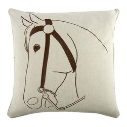 """Thomas Paul - Thoroughbred Pillow - The handmade, oversized Thomas Paul Thorougbred throw pillow features a hand screened thoroughbred print on 100% unbleached natural linen.  The horse print is a nod to the equestrian trend. The design is reversible with opposite coloration on either side. The throw pillow has piped edges and comes with a feather insert. This is one of those great pieces that pairs well with solids or prints. Adds a beautiful design element to a living room sofa or bedroom.   About the Artist: After graduating from NYC's famed FIT, Thomas Paul started his career as a colorist and designer at a silk mill. Eventually, he leveraged his knowledge of silk materials & print to launch a neckwear line of his own. Over time, Paul loved the idea of applying menswear print and design into a collection of home decor, which is what we see in his goods today. His background has embedded in him a passion for quality production techniques. Even as his brand grows, he continues to ensure all of his prints are hand screened - a slow, detailed process that results in each piece being a unique piece of artwork. Paul also pushes the envelope in terms of bold prints and hand ground materials.       """"My vision for the thomaspaul brand has always been about combining classic design motifs from different periods in textile design. Incorporating anything from an 18th century Damask pattern to a camouflage print. The unifying thread between so many different styles is to change the designs so they are updated for today. For me this means changing the scale, so they are always bold, and reducing down the colors and details, so most designs are reduced to two or three colors and become very flat, bold prints. I am always looking to vintage fabrics and motifs for inspiration and new ideas, but always try to update these to look good for today."""" - Thomas Paul   Product Details:"""