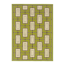 "Grandin Road - Cayman Maze Outdoor Rug - 2'3"" x 7'6"" - Revolutionary flat-weave construction. 100% polypropylene fibers shrug off the elements. Indoor/outdoor versatility. Simply rinse clean with a hose. With our Cayman Maze Outdoor Rug you can achieve the perfect balance of high style and high durability. This quick-drying, soft loop rug is perfect outdoors or in a high-traffic area inside your home. The bold and sophisticated design incorporates a modern motif of slender geometric lines branching out across a vibrant lime green ground.. . . . Imported."