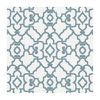 Turquoise Scroll Trellis Cotton Fabric - Chic Morrocan style trellis with intricate outlined scrolls of aqua blue on ivory cotton.Recover your chair. Upholster a wall. Create a framed piece of art. Sew your own home accent. Whatever your decorating project, Loom's gorgeous, designer fabrics by the yard are up to the challenge!