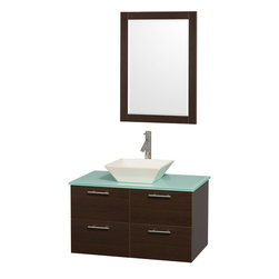 Wyndham Collection - Amare Bathroom Vanity in Espresso, Green Glass Top, Bone Porcelain Sink - Modern clean lines and a truly elegant design aesthetic meet affordability in the Wyndham Collection� Amare Vanity. Available with green glass , acrylic resin or pure white man-made stone counters, and featuring soft close door hinges and drawer glides, you'll never hear a noisy door again! Meticulously finished with brushed Chrome hardware, the attention to detail on this elegant contemporary vanity is unrivalled.