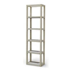 Kathy Kuo Home - Chateau Ivory Hollywood Regency Shagreen Tall Etagere Display Case - Tall and impressive, this Industrial Loft ivory shagreen étagère will display all of your collections in style. With clean lines, this rectangular unit offers six shelves for books, photographs and favorite finds. Metallic trim adds a modern finish to unique unit.